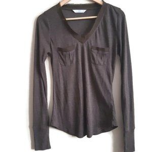 Costa Blanca  brown top with  fringe collar detail